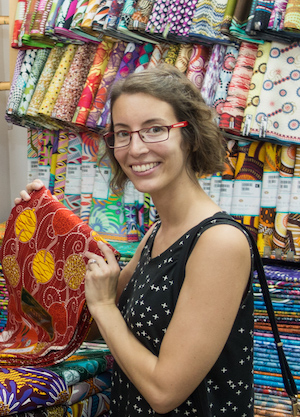 Hélène looking at fabrics in Ghana.